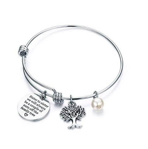 Bangle Bracelet Engraved Sister to sister we will always be a couple of nuts off the family tree Inspirational Jewelry