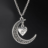 Image of Crescent Moon and Paws Pendant Necklace, 19.5'' Chain, Great Gift for Animal Lovers