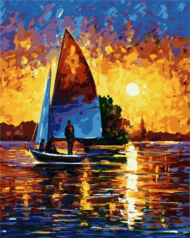 DIY Paint by Numbers Kit for Adults - Summer Night Sunset Boat