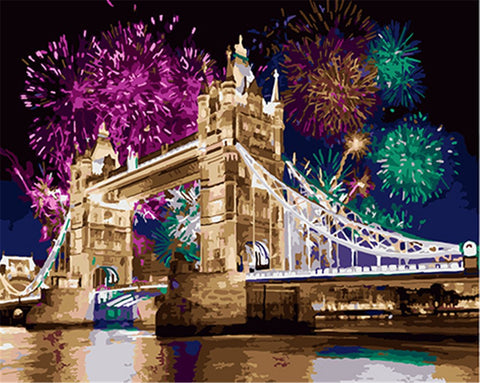 DIY Paint by Numbers Kit for Adults - Tower Bridge Fireworks