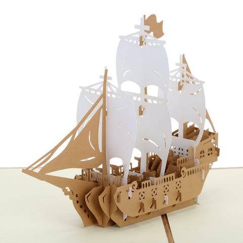 3D Boat Pop Up Card and Envelope - Sailing Boat white brown