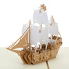 Image of 3D Boat Pop Up Card and Envelope - Sailing Boat white brown