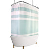 "Image of Shower Curtain with Metal Hooks, 72"" x 72"" Thick Heavy Duty Fabric Bathroom Shower with Hooks No Chemical Odor Rust-Resistant - Mint Lines"