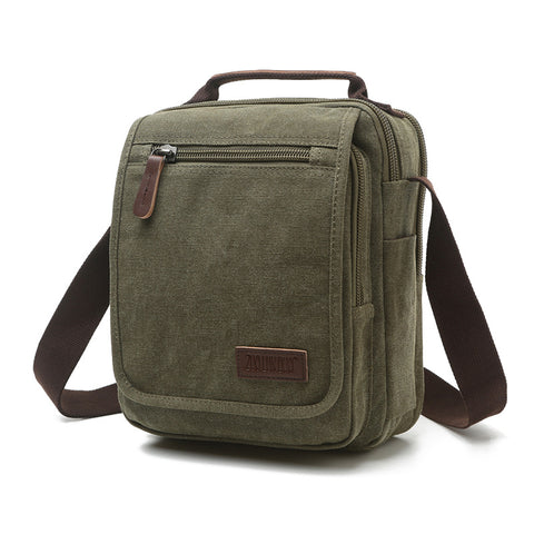 Small Canvas Crossbody Shoulder Bag - Green