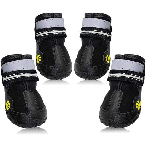 Dog Boots Outdoor Waterproof Running Shoes for Medium to Large Dogs with Reflective Velcro Rugged Anti-Slip Sole Black 4PCS