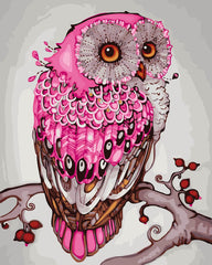 DIY Paint by Numbers Kit for Adults - Pink Owl
