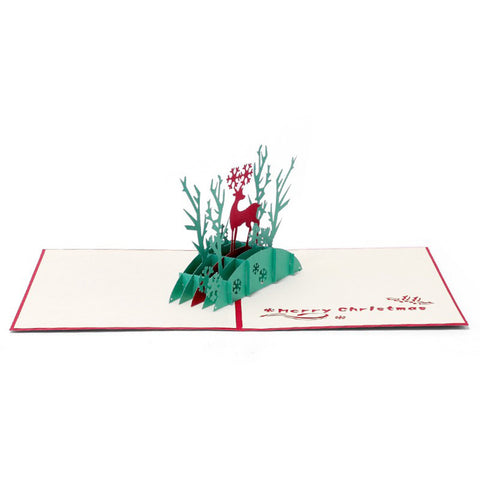 3D Christmas Pop Up Card and Envelope - Christmas Deer