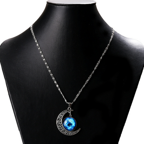 Galaxy & Crescent Cosmic Moon Pendant Necklace, Blue Glass, 17.5'' Chain, Great Gift for Women