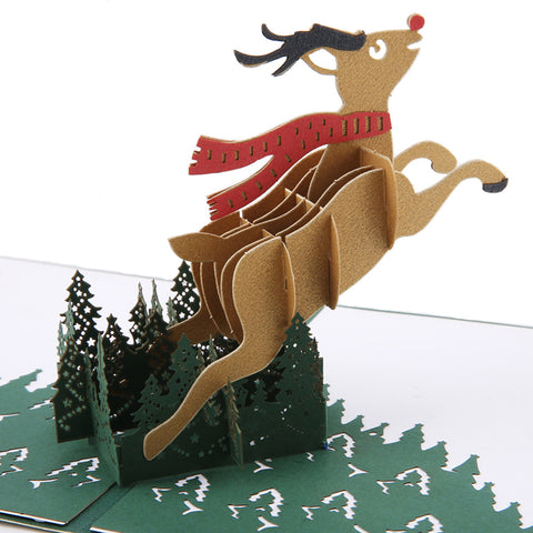 3D Christmas Pop Up Card and Envelope - Unique Pop Up Greeting Cards for Birthday, Christmas, New Year, Anniversary, Valentine, Wedding, Graduation, Thank You. Christmas deer