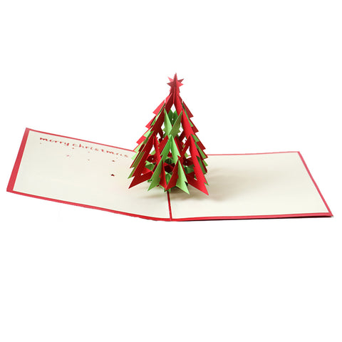 3D Christmas Pop Up Card and Envelope - Christmas tree RED