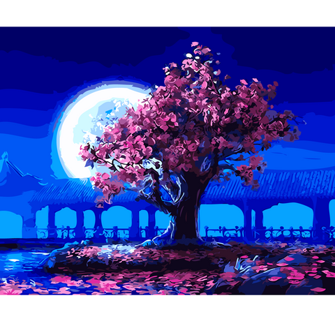 DIY Paint by Numbers Canvas Painting Kit for Kids & Adults - Pink Tree Blue Night