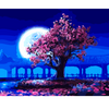Image of DIY Paint by Numbers Canvas Painting Kit for Kids & Adults - Pink Tree Blue Night