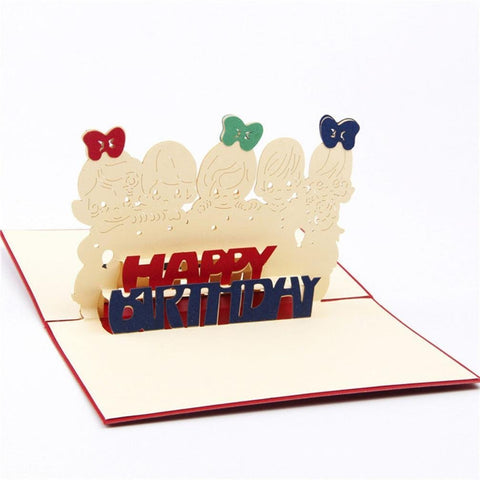 3D Birthday Pop Up Card and Envelope - Happy B-day babies