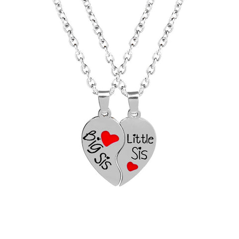 Split Heart Pendant Necklaces - Set of 2 Big Sis Little Sis Necklaces