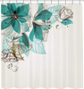 "Image of Shower Curtain with Metal Hooks, 72"" x 72"" Thick Heavy Duty Fabric Bathroom Shower with Hooks No Chemical Odor Rust-Resistant - Mint Flower"