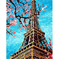 DIY Paint by Numbers Kit for Adults - Eiffel Tower Flowers