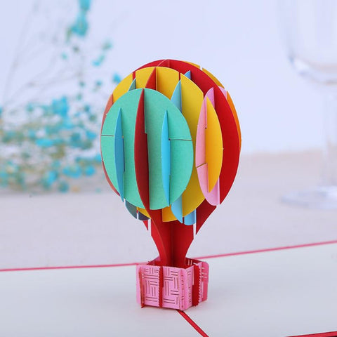 3D Balloon Pop Up Card and Envelope - Colorful balloon