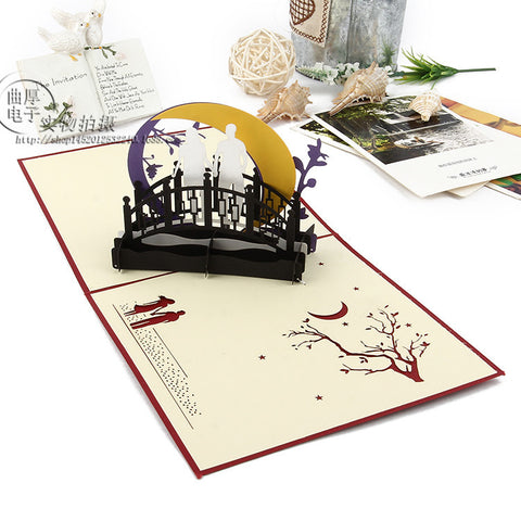 3D Love Pop Up Card and Envelope - Couple night on the bridge