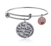 "Image of Expandable Inspirational Jewelry Women Charm Stackable Bracelet, ""Be Thankful, Brave, Happy, Kind, True, Compassionate, Strong"","