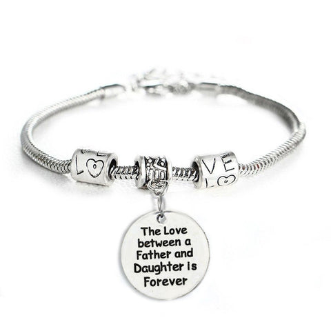 The Love Between a Father and Daughter is Forever Bracelet - Family Jewelry Gift - 10""