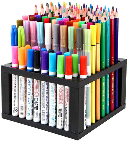 96 Hole Plastic Pencil & Brush Holder Multi Bin Organizer - Desk Stand Holding Rack for Markers, Paint Brushes, Colored Pencils, Pens