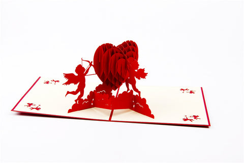 3D Love Pop Up Card and Envelope - Valentine's Day Red Hearts & Angels Card