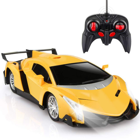Remote Control Car, High Speed Sport Racing Car with Lights, Controller and Double Batteries, Yellow Car for Boys Girls Adults
