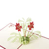 Image of 3D Floral Pop Up Card and Envelope - Valentine's Day Red Flower Bouquet Card