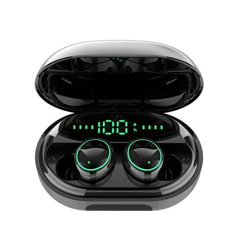Bluetooth 5.0 Wireless Earbuds with Wireless Charging Case IPX7 Waterproof - Built in Mic Headset Hands-Free Call - Black