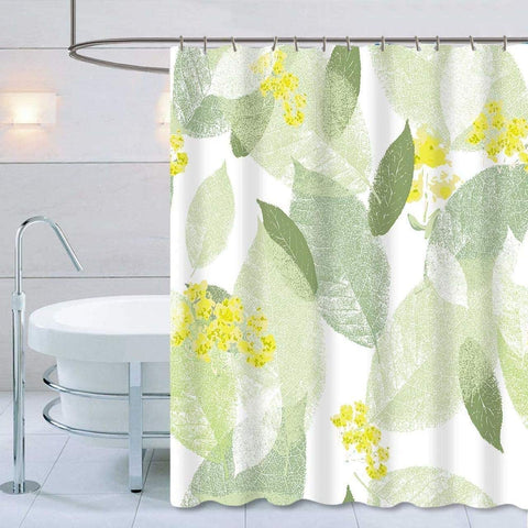 "Shower Curtain with Metal Hooks, 72"" x 72"" Thick Heavy Duty Fabric Bathroom Shower with Hooks No Chemical Odor Rust-Resistant - Yellow Leaves"
