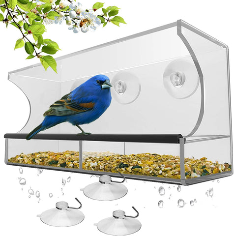 Window Bird House Feeder with Sliding Seed Tray Holder and 3 Extra Strong Suction Cups - For Wild Birds, Finch, Cardinal, and Bluebird