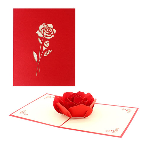 3D Floral Pop Up Card and Envelope - Red flower