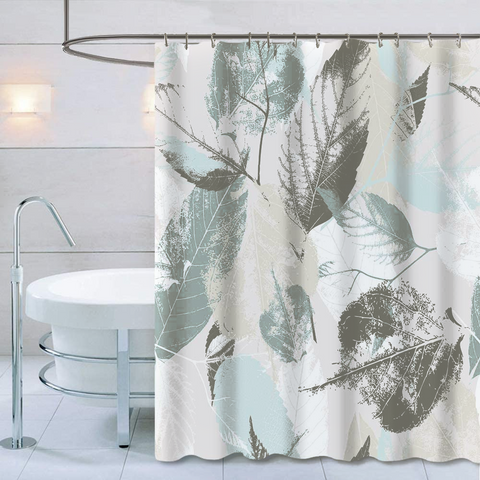 "Shower Curtain with Metal Hooks, 72"" x 72"" Thick Heavy Duty Fabric Bathroom Shower with Hooks No Chemical Odor Rust-Resistant - Gray Leaves"
