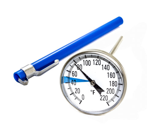 "Stainless Steel Soil Thermometer - 5'' Long Stem, Easy-to-Read 1.5"" Dial Display, 0-220 Degrees Fahrenheit Range"