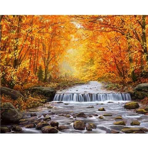 DIY Paint by Numbers Canvas Painting Kit for Kids & Adults - Autumn River Park