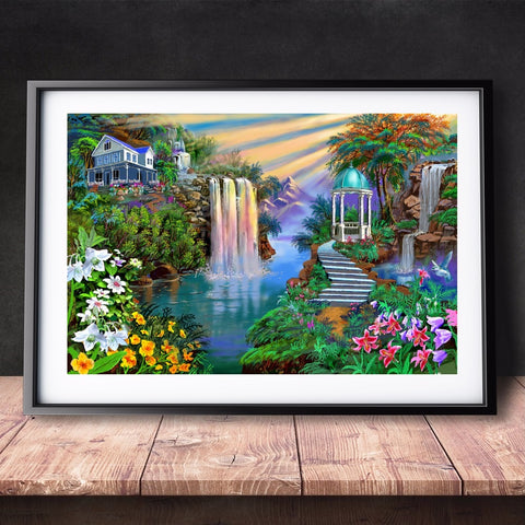 DIY Paint by Numbers Canvas Painting Kit for Kids & Adults - Ideal Waterfall Landscape