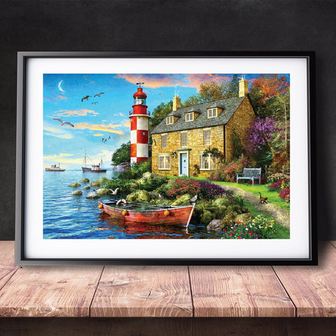 DIY Paint by Numbers Canvas Painting Kit for Kids & Adults - Lighthouse Sailing Boat