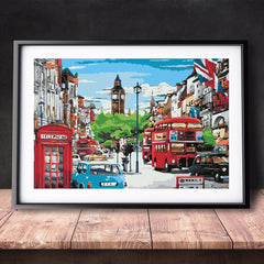 DIY Paint by Numbers Canvas Painting Kit for Kids & Adults - London City Bus Telephone