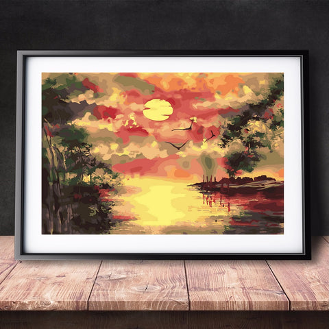 DIY Paint by Numbers Canvas Painting Kit for Kids & Adults - Crying Sun Sunset