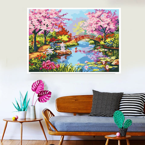 DIY 5D Diamond Painting Kit, Full Drill Spring Blooming Trees Embroidery Cross Stitch Canvas