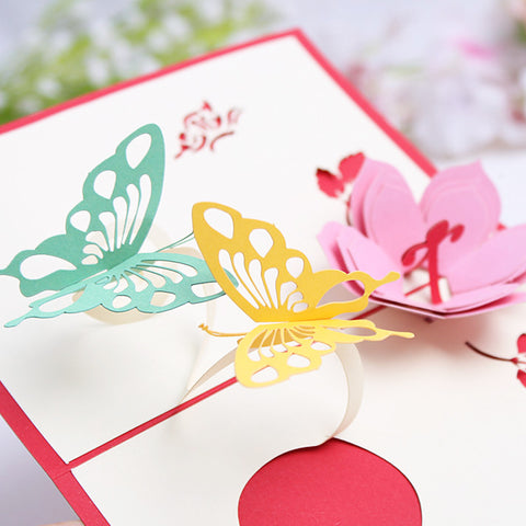 3D Flower Butterfly Pop Up Card and Envelope - Pink flower 2 Butterflies