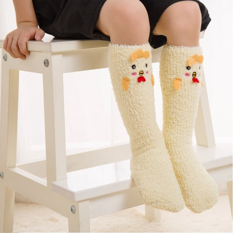 Winter Socks for Girls - Soft Warm Fluffy Cozy - Funny Animals - Chicken- [1 Pair]