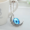 Image of Galaxy & Crescent Cosmic Moon Pendant Necklace, Blue Glass, 17.5'' Chain, Great Gift for Women