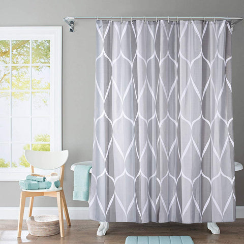 "Shower Curtain with Metal Hooks, 72"" x 72"" Thick Heavy Duty Fabric Bathroom Shower with Hooks No Chemical Odor Rust-Resistant - Gray Pattern"