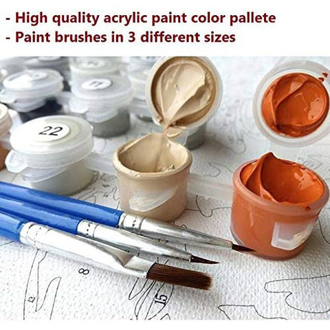 "DIY Acrylic Painting, Paint by Number Kits for Kids Beginner - Little Fox 8"" x 8"""