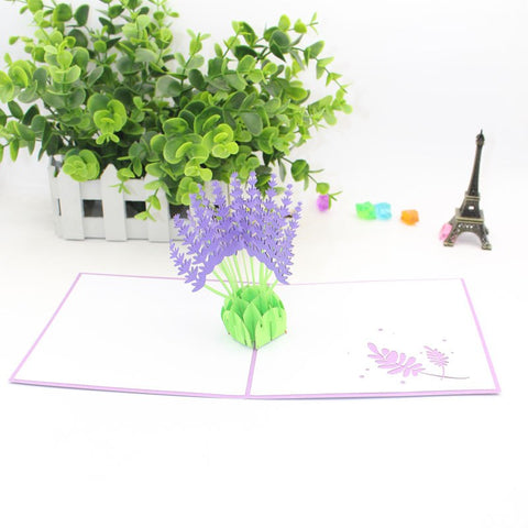 3D Floral Pop Up Card and Envelope - Lavender