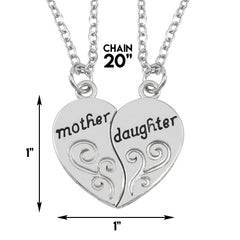 Mother & Daughter Pendant Necklace - 2x20'' Chain + 2 Necklace Pendants