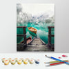Image of DIY Paint by Numbers Canvas Painting Kit - Fishing Boat in Lake