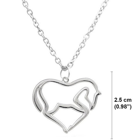 Heart Pendant Necklace Horse Heart Jewelry