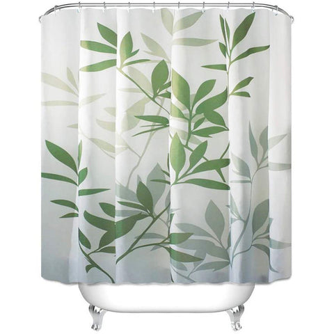 "Shower Curtain with Metal Hooks, 72"" x 72"" Thick Heavy Duty Fabric Bathroom Shower with Hooks No Chemical Odor Rust-Resistant - Green Leaves"